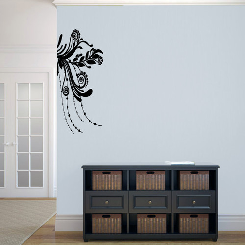 "Corner Flourish Wall Decals 15"" wide x 34"" tall Sample Image"