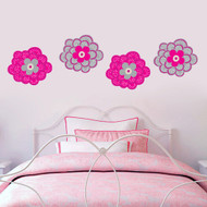 Pink & Gray Flowers Printed Wall Decals and Stickers Sample Image