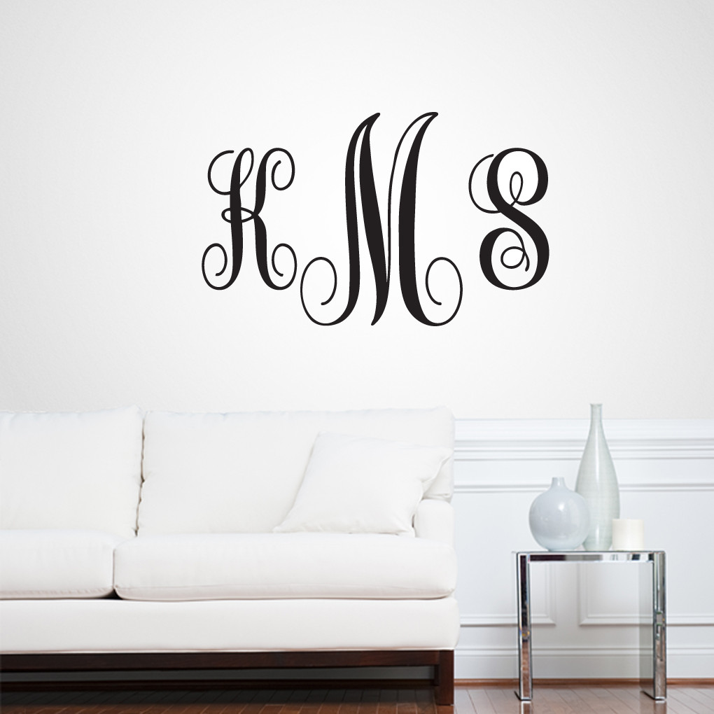 Full name fancy monogram wall decals wall decor stickers for Monogram wall decal