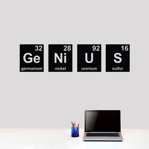 "Genius Periodic Table Wall Decals 48"" wide x 12"" tall tall Sample Image"