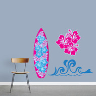 Pink Surfing Pack Printed Wall Decals Sample Image