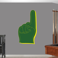 """Green and Yellow Foam Finger Printed Wall Decal 26"""" wide x 48"""" tall Sample Image"""