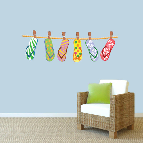 "Hanging Flip Flops Printed Wall Decals 48"" wide x 16"" tall Sample Image"