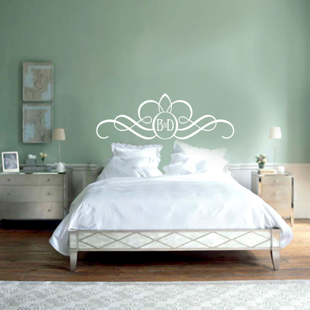 Headboard monogram wall decals wall decor stickers for Mural headboard