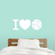 "I Love Volleyball Wall Decals 36"" wide x 13"" tall Sample Image"