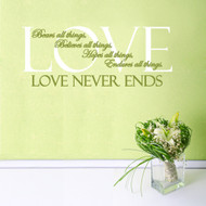 Love Never Ends Wall Decals and Wall Decals