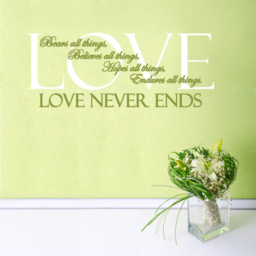 love never ends quotes wall decals stickers