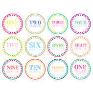 Colorful Monthly Baby Milestone Onesie Stickers Wall Decals
