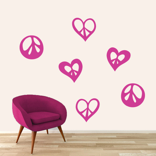 Peace Signs And Hearts Wall Decals Large Sample Image