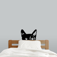 "Peeping Cat Wall Decal 18"" wide x 12"" tall Sample Image"