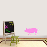 "Pig Silhouette Wall Decal 24"" wide x 12"" tall Sample Image"