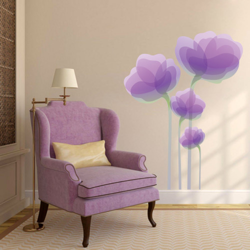 """Purple Flowers Printed Wall Decals 36"""" wide x 48"""" tall Sample Image"""