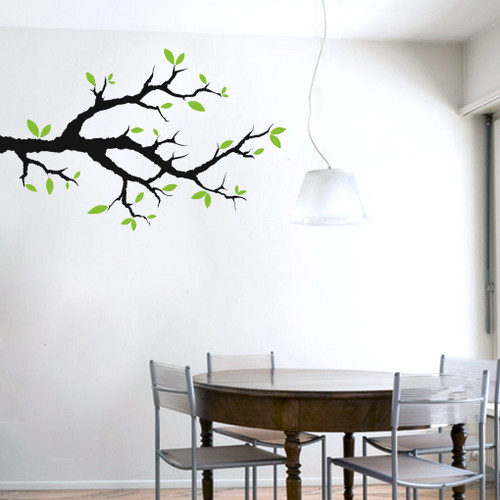 Tree Branch With Leaves Wall Decals - Wall decals leaves