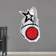 Volleyball With Star and Net Printed Wall Decals and Wall Stickers