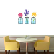 "Mason Jar With Flowers Printed Wall Decals 30"" wide x 24"" tall Sample Image"