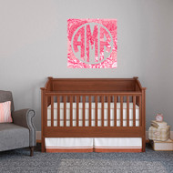 Printed Pattern Circle Monogram With Square Frame Wall Decals and Stickers