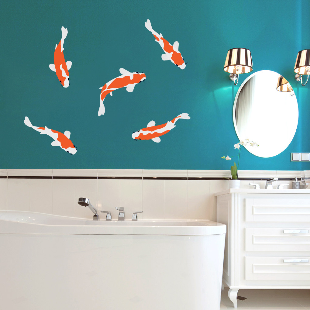 Koi fish printed wall decals wall decor stickers for Koi fish wall stickers