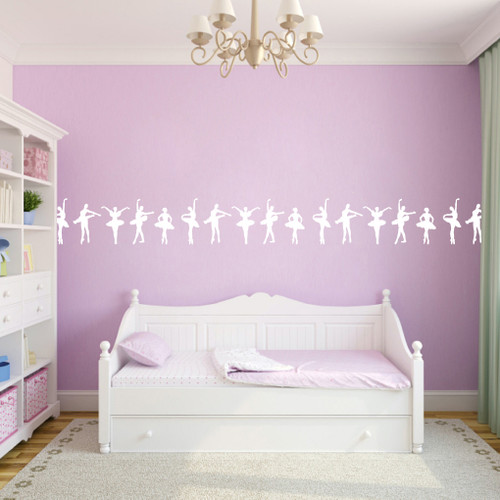"Ballerina Border Wall Decal 30"" wide x 12"" tall Sample Image"