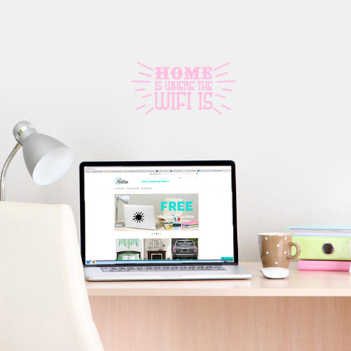 "Home Is Where The Wifi Is Wall Decals 12"" wide x 6"" tall Sample Image"