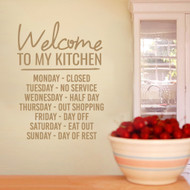 """Welcome To My Kitchen Wall Decals 22"""" wide x 30"""" tall Sample Image"""