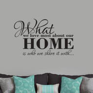 """What We Love Most About Our Home Wall Decals 36"""" wide x 22"""" tall Sample Image"""