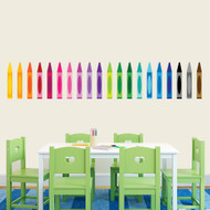 "Crayons Printed Wall Decals 64"" wide x 12"" tall Sample Image"