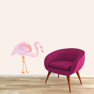 "Watercolor Flamingo Printed Wall Decal 36"" wide x 36"" tall Sample Image"