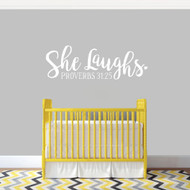 "She Laughs Ohio Wall Decal 36"" wide x 12"" tall Sample Image"
