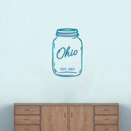 "Ohio Mason Jar Wall Decal 15"" wide x 24"" tall Sample Image"
