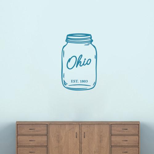 "Ohio Mason Jar Wall Decal 15"" wide x 24"" tall Sample Image"