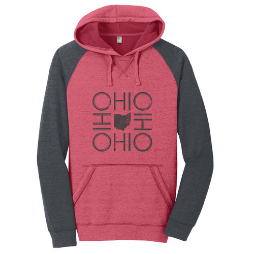 Heathered Red/Heathered Charcoal Ohio Fleece Raglan Hoodie