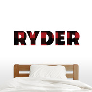 "Custom Lumberjack Red And Black Plaid Name Wall Decal 48"" wide x 10"" tall Sample Image"