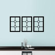 "Three Diamond Window Panes Wall Decals 48"" wide x 22"" tall Sample Image"