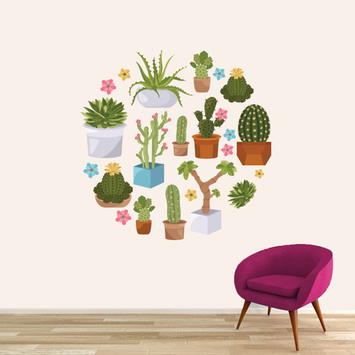 "Cactuses and Succulents Printed Wall Decals 48"" wide x 48"" tall Sample Image"