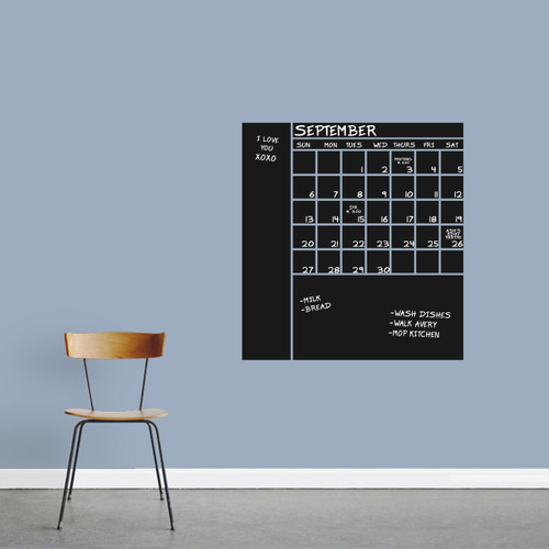 """Chalkboard Calendar With Notes Wall Decals 28"""" wide x 30"""" tall Sample Image (Writing Not Included With Order)"""