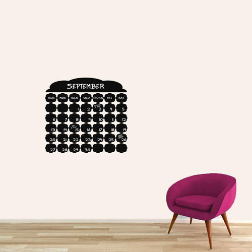 """Chalkboard Fancy Calendar Wall Decals 24"""" wide x 22"""" tall Sample Image (Writing Not Included With Order)"""