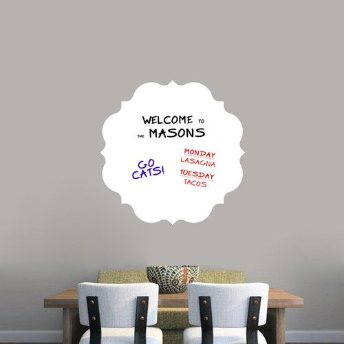 """Dry Erase Badge Wall Decals 23"""" wide x 23"""" tall Sample Image (writing not included)"""