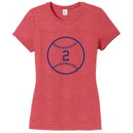 Red Frost Custom Baseball Women's Fitted T-Shirt