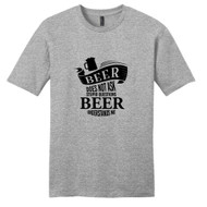 Light Heathered Gray Beer Does Not Ask Stupid Questions T-Shirt