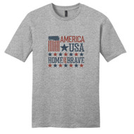 Light Heathered Gray America USA Home Of The Brave T-Shirt