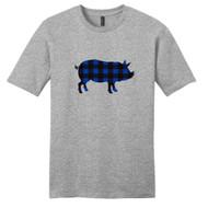 Light Heathered Gray - Black and Blue Plaid Custom Pattern Pig Silhouette T-Shirt