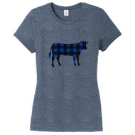 Navy Frost - Black and Blue Plaid Custom Pattern Cow Silhouette Women's Fitted T-Shirt