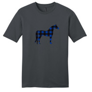 Charcoal - Black and Blue Plaid Custom Pattern Horse Silhouette T-Shirt