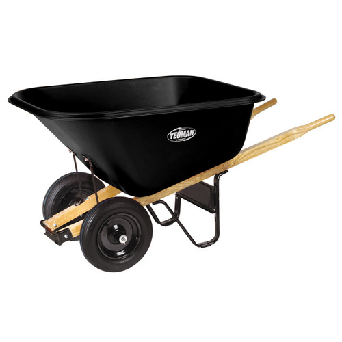 Dual-Wheel Landscaper Poly Wheelbarrow