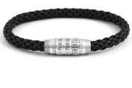 Combination Lock Bracelet - Black Leather Medium