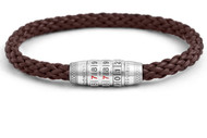 Combination Lock Bracelet - Brown Leather Medium