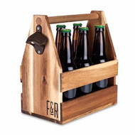 Acacia Beer Caddy with Bottles