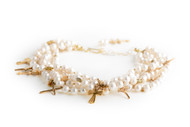 4 Strands white 9mm Baroque pearls Gold Plated crosses