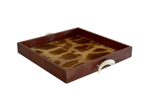 Square Leather Tray Giraffe Inlay