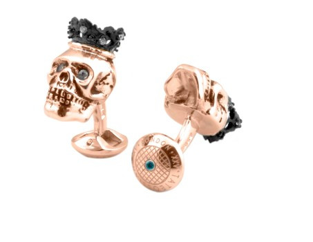 Pink Gold & Topaz Skull Cufflinks